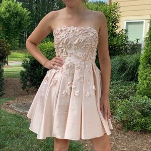 🎉5 for $25🎉  Strapless Champagne Appliqué Dress